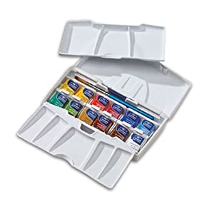 Winsor & Newton Cotman Water Colour Paint Pocket Plus Set, Set of 12, Half Pans