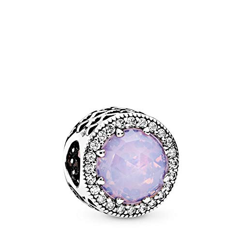 - PANDORA Radiant Hearts Charm, Sterling Silver, Opalescent Pink Crystal, Clear Cubic Zirconia, One Size