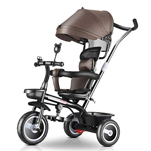 Tricycle 4-in-1 Kids Travel Stroller, Baby Trike with Push Handle/Adjustable Canopy, Age 1-5 Years Old (Color : Brown)