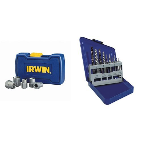 IRWIN HANSON BOLT-GRIP Bolt Extractor Base Set and Spiral Extractor and Drill Bit Set