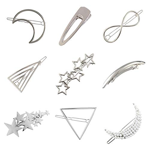 (Women Lady Girl Korean Silver Vintage Retro Minimalist Bowknot Oval Circle Moon Star Pearl HairBowknot Oval Circle Moon Star Pearl Hair Clip Snap Barrette Comb Stick Claw Crab Clamp Hairpin (Silver))