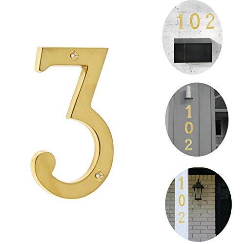 [해외]Bebarley 3 Inch Premium Bright Solid Brass Door House Numbers and Street Address Plaques Numbers for Residence and Mailbox Signs.(Number 3) / Bebarley 3 Inch Premium Bright Solid Brass Door House Numbers and Street Address Plaques ...