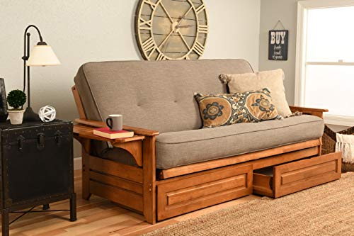 - Kodiak Furniture KFPHDBBLSTNLF5MD4 Phoenix Futon Set with Linen Stone Mattress and Storage Drawers, Full, Barbados