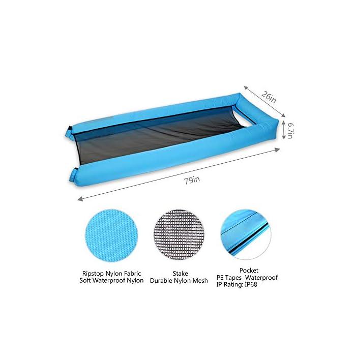 416h0mV%2B2nL Adecuado para muchas ocasiones: la Hamaca de agua flotante para nadar es ideal para un día en la piscina, el lago o el océano. Mantén tu cuerpo mojado y apoya la cabeza a flote por encima del agua. Fácil de inflar: infle el tumbona de flotante en condiciones de viento. Si es un día ventoso, simplemente abre la boca de la tumbona de flotador en el viento para inflarla. Use un ventilador para infle si el viento es insignificante o si está en casa. Cómodo y duradero: la cama de malla suave suspende su cuerpo justo debajo de la superficie del agua para mantenerlo fresco. Compuesto por nailon impermeable, este flotador es de punto, fino y suave.