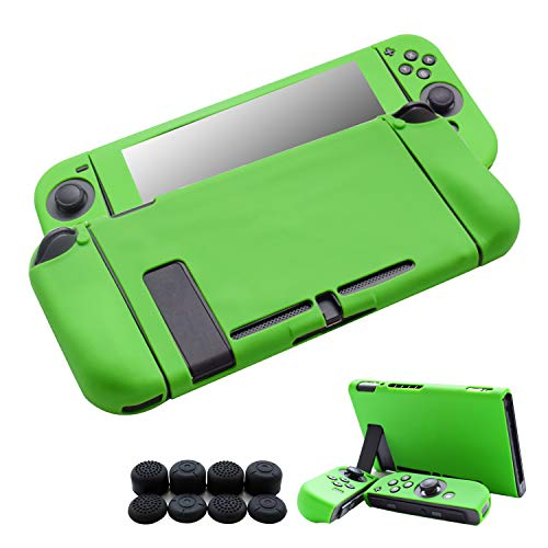 Hikfly 3pcs Silicone Gel Non-Slip Cover Skin Protector Case Kits Compatible for Nintendo Switch Consoles and Joy-Con Controllers with 8pcs Silicone Gel Thumb Grips Caps(Green) ()