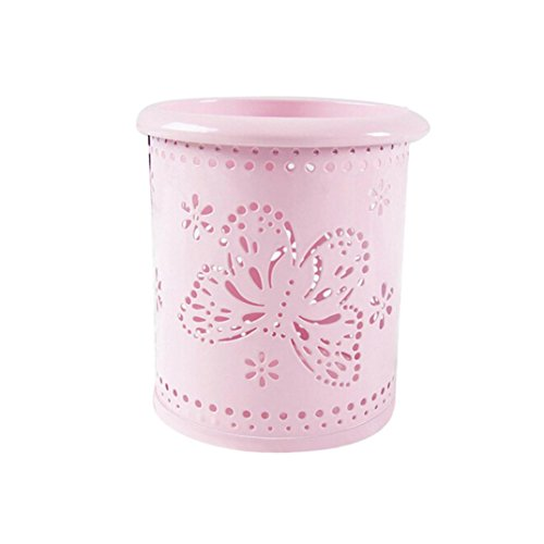Iuhan Hollow Out Makeup Brush Vase Butterfly Brush Pot Pen Holder Stationery Storage Organizer (A, Pink, 1) from Iuhan