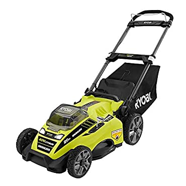 Ryobi RY40180 40V Brushless Lithium-Ion Cordless Electric Mower Kit, with 5.0Ah Battery, 19.88 x 40.748 x 22.677