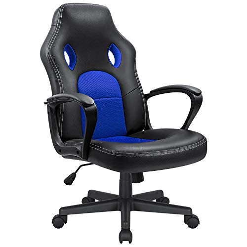 Kaimeng Office Chair Desk Leather Gaming Chair High Back Ergonomic Adjustable Racing Chair Executive Computer Chair (Blue) KaiMeng