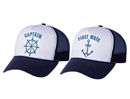 Funny Captain & First Mate Nautical Sailing Matching Mesh Caps Set Couples Gift Captain Navy/White OS/Mate Navy/White OS