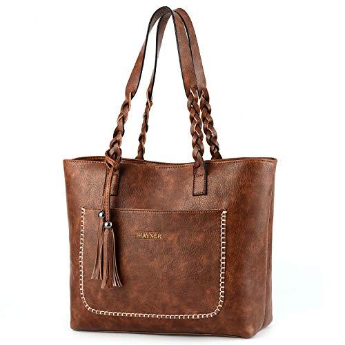 Purse Leather Handbag Bag Faux - Women Tote Bags Retro Shoulder Bag Purse Satchel Hobo Purse Zippred Waterproof Travel Handbags with Tassel (light brown)