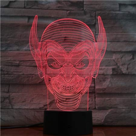 RTYHI Halloween Jack Clown Night Lamp Acrylic 3D Lights Baby Bedroom Table Lamp with USB Cable Kids BirthdayGift,Remote Touch Switch