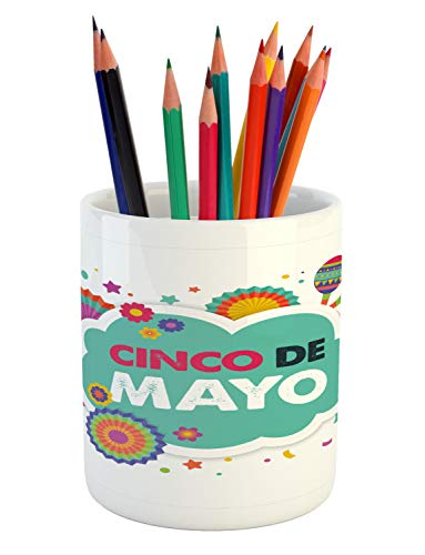 Festive Maraca - Lunarable Cinco de Mayo Pencil Pen Holder, Mexican Fiesta Themed Typographic Image with Festive Ornaments and Maracas, Printed Ceramic Pencil Pen Holder for Desk Office Accessory, Multicolor