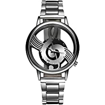 Fashion Music Note Notation Watch Stainless Steel Wristwatch for Men Silver Watches