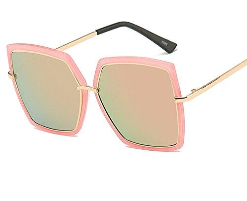 2018 new sunglasses ladies big frame trend metal anti-UV sunglasses,Black frame mercury ()