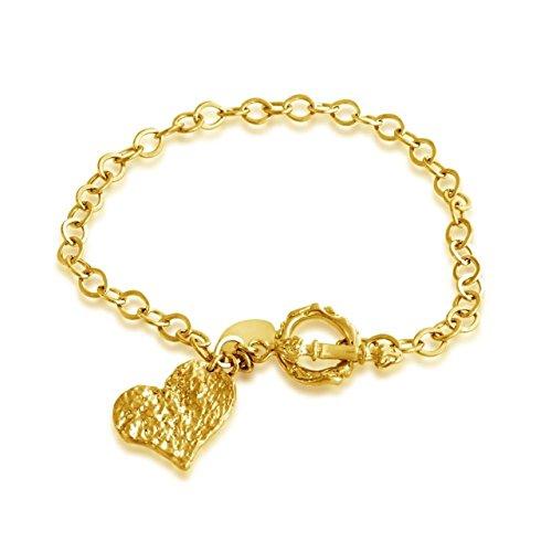 Hammered Heart Charm Toggle Bracelet ()