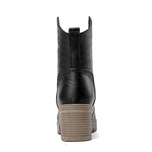 Bandage Heels Schwarz Chunky Lederimitatstiefel Platform AdeeSu Mädchen BwC5x6qxf