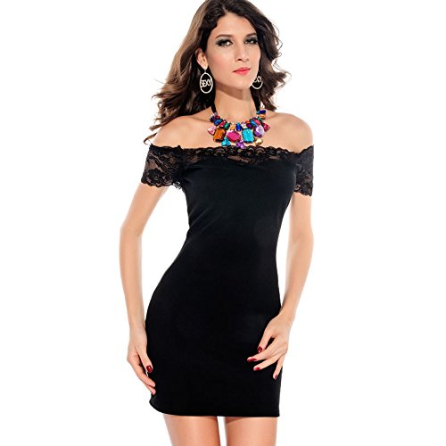 Escote Barco Lujoso Y Elegante manga corta corto vestido de fiesta (Un tamaño, Negro