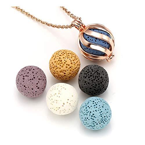 Top Plaza Lava Rock Stone Aromatherapy Essential Oil Diffuser Necklace Fashion Twisted Ball Locket Pendant With 6 Lava Stone Balls - Rose Gold (Oil Essential Elevate Diffuser)