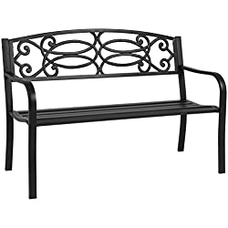 "Best Choice Products 50"" Outdoor Patio Garden Bench Steel Frame Park Yard Porch Furniture"