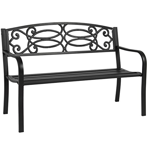 Best Choice Products 50″ Outdoor Patio Garden Bench Steel Frame Park Yard Porch Furniture
