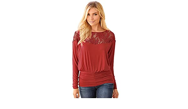 WanYang Blusa Para Mujer a la Moda de Encaje y Manga Larga Camisa Casual Blusa Suelta de Algodón: Amazon.es: Ropa y accesorios