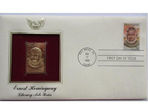ERNEST HEMINGWAY 1989 22kt Gold Stamp First Day Issue FDI FDC Replica Golden Cover - Issue Stamp Cover