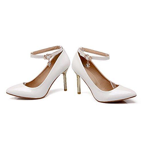 Allhqfashion Femmes Solides Pointes Stilettos Boucle Pointu Fermé Pompes À Chaussures-chaussures Blanc