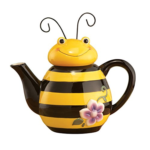 Teapot Charming - Bee Shaped Decorative Ceramic Kitchen Teapot with Wire Antennae - Great gift for Mom, Sister, Teacher, Cook, Gardener, Yellow