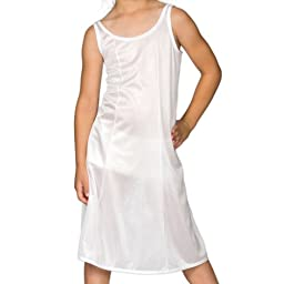 I.C. Collections Big Girls White Sleek Nylon Slip - Tea Length, 8