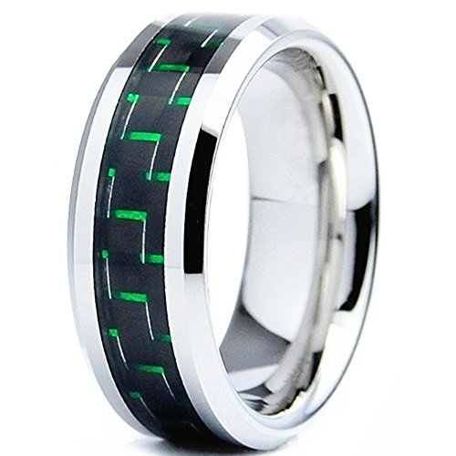 King Will 8mm Green/Black Carbon Fiber Inlay Silver Tungsten Carbide Ring Comfort Fit Wedding Band(9)