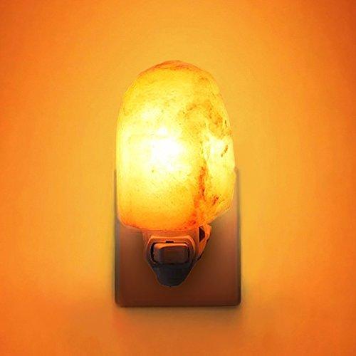 Orange Motion Lamp - Natural Himalayan Salt Lamp, Waynewon Plug in Hand Carved Crystal Night Light - Best Living Room, Bathroom, Hallway Light [2 Bulbs]