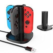 GameWill Nintendo Switch Joy-Con estación de cargarápida de carga, USB Powered, con indicadores LED, para 4 Joycon Controllers-Negro