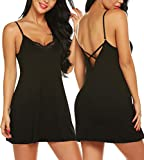 RSLOVE Women Lace Lingerie Chemise Sexy V-Neck Floral Full Slip Sleepwear Babydoll Nightgown Dress