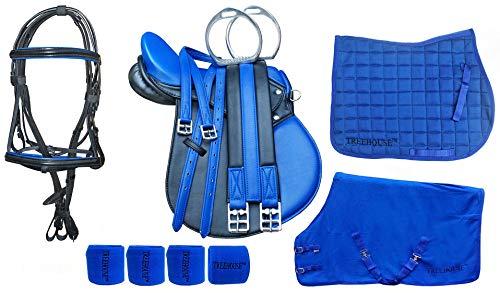 CHALLENGER 13″ English Pony All-Purpose Saddle 9 Pcs Riding Gift Set Blue 803SDRB