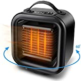 Space Heater, OYRGCIK Portable Ceramic Heater Personal Electric Heater Fan Safe Oscillating PTC Heater with Tip-Over Auto Shut Off Overheating Protection for Office Indoor Home Bedroom, Black