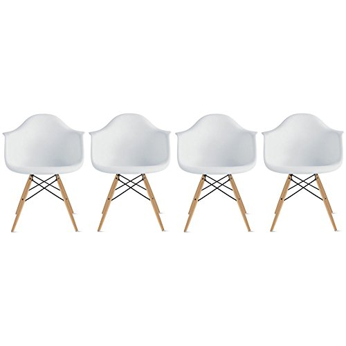 2xhome - Set of Four (4) - White - Plastic Armchairs - Natural Wooden Legs Dining Room Chair - Lounge Arm Arms Armed Chair Chairs Armchairs Seat Wood Dowel Leg Legged Base ()
