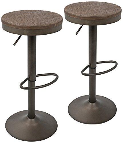 Lumisource Brown Bar Stools - Dakota Brown Antique Adjustable Swivel Bar Stools Set of 2