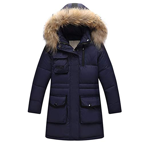ZPW Boys' Girls' Winter Hooded Puffer Down Jacket with Faux Fur Trim - Trim Hooded Down Coat