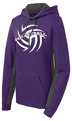 Volleyball Performance Hoodie (Medium, Purple/ Dark Smoke - Dark Purple Smoke