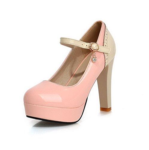 AllhqFashion Damen Schnalle PU Leder Rund Zehe Hoher Absatz Gemischte Farbe  Pumps Schuhe Pink