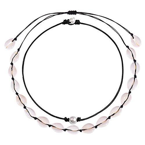 Long tiantian Women Puka Shell Necklace Bracelet 2 Pcs Set Adjustable Leather Anklet Hawaii Beach Choker Jewelry for Girls (Black 2 Set)