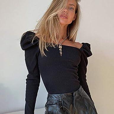 Blusa Donna Pagliaccetto con Maniche Lunghe a Sbuffo Scollo Quadrato Aderente Casual Elegante alla Moda