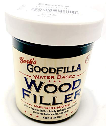 Water-Based Wood & Grain Filler - Ebony - 8 oz By Goodfilla | Replace Every Filler & Putty | Repairs, Finishes & Patches | Paintable, Stainable, Sandable & Quick ()