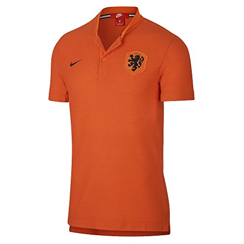 Nike 2018-2019 Holland Authentic Polo Football Soccer T-Shirt Jersey (Orange)