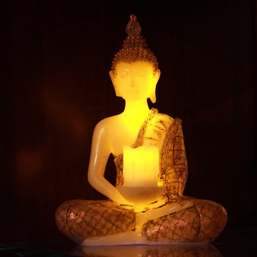 Meditating Thai Sitting Buddha Decor,Led Light With Timer,13