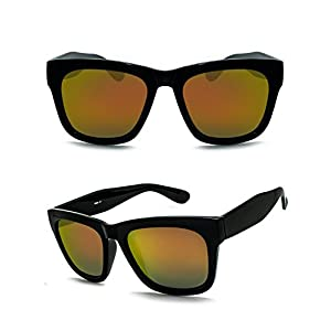 Unisex Polarized UV Protection Oversize Square Frame Fashion Style Sunglasses (shiny black , orange)