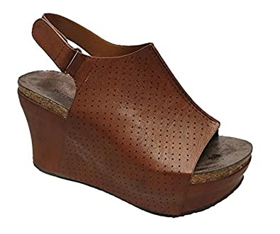 10e625304e38 Pierre Dumas Women s Hester 16 Whiskey Slingback Fashion Peep Toe Wedge (6