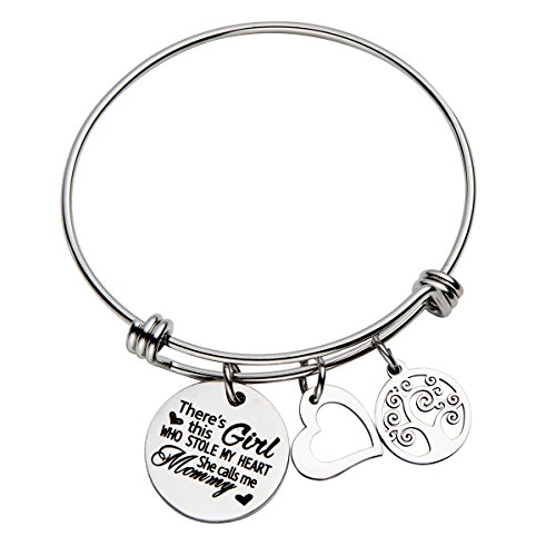 omodofo There's This Girl Who Stole My Heart She Calls Me Mommy Inspirational Messaged Adjustable Cuff Bracelet
