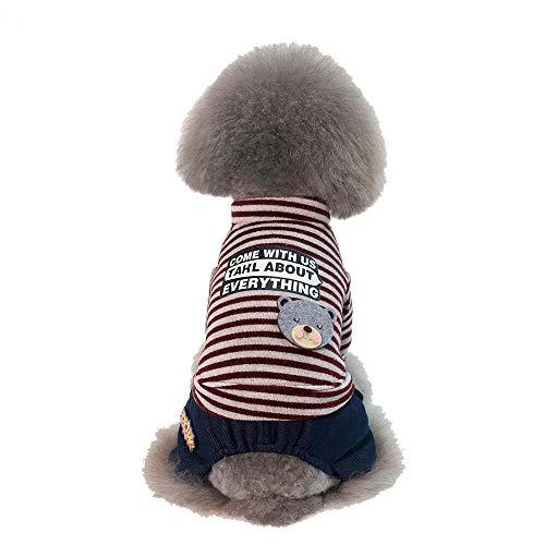 Denim Dachshund Miniature Shirt (abcnature Pet Cat Dog Shirt+Pants Bear Coat Striped Jacket Pet Supplies Clothes Warm Winter Apparel Puppy Costume)
