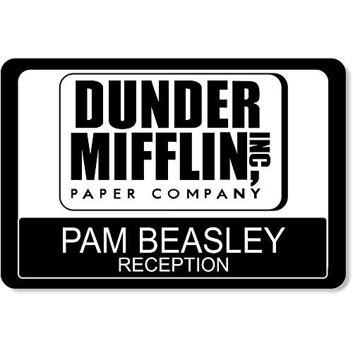 Large Dunder Mifflin Name Tags Halloween Name Tags, Custom The Office Name Tags (Design 2) Black]()